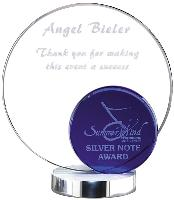 Blue/Clear Crystal Round Award