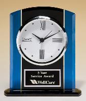 Blue and Black Glass Clock