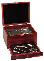 Rosewood Finish 5-Piece Wine Tool Set with 2 Glasses