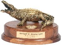 Brass Gator on Oval Base