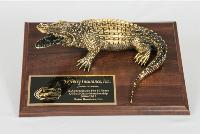 Large Brass Gator on Base