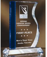 Blue/Clear Crystal Wave Award