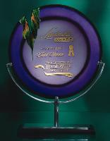 Violet Art Glass Award with Metal Stand