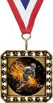 Exclusive Lacrosse Square Medal with Round Insert