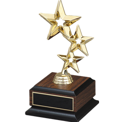 Triple Star Figure on wood base