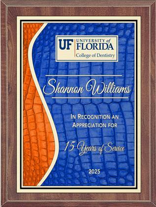 Blue and Orange Gator Skin S-Curve Plaque